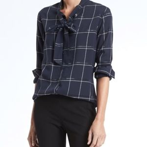 Banana Republic Navy Plaid Tie-Neck Blouse